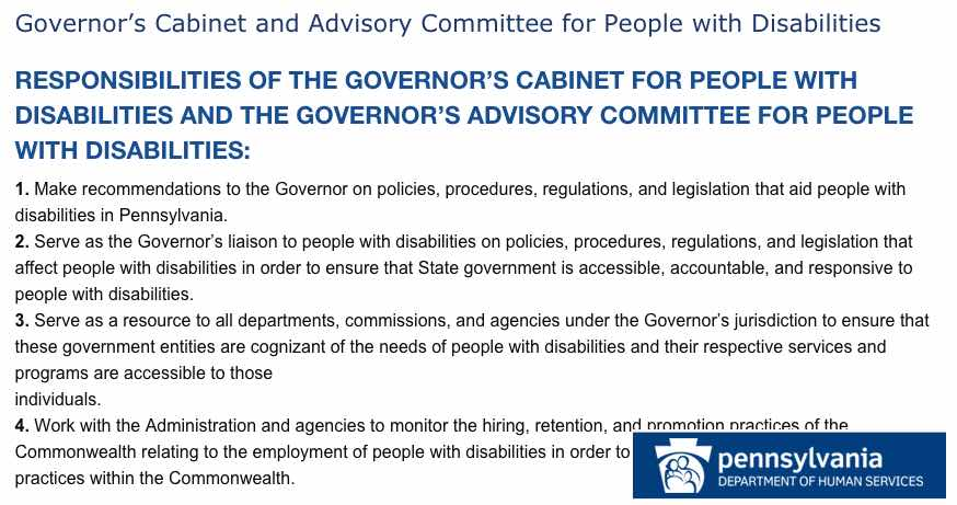 Pennsylvania Government Committee for People with Disabilities Page screencapture